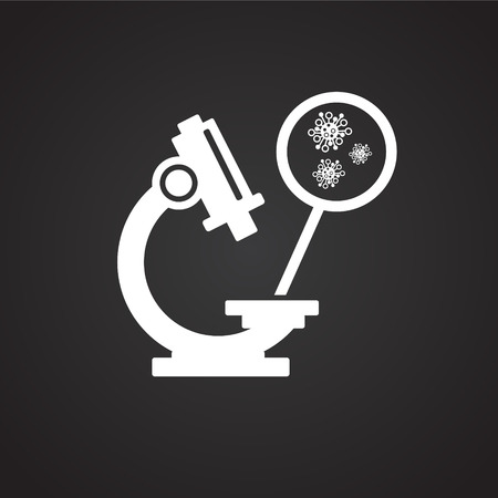 Microscope with virus ob black background icon Banco de Imagens