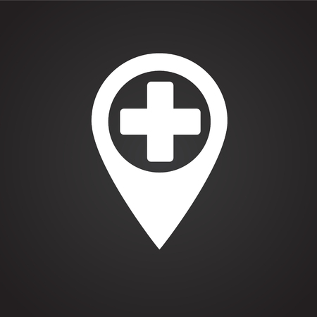Hospital location on black background icon Imagens