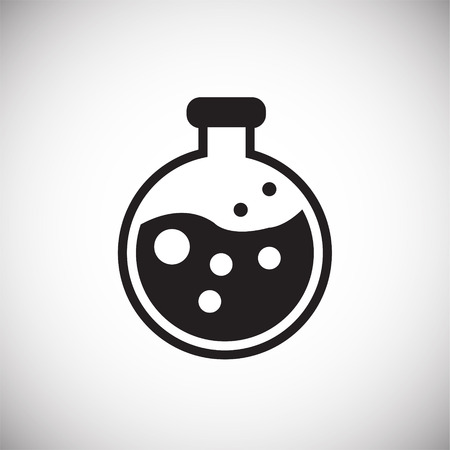 Chemical flask on white background icon