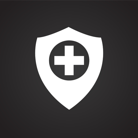 Medical protection shield on black background icon