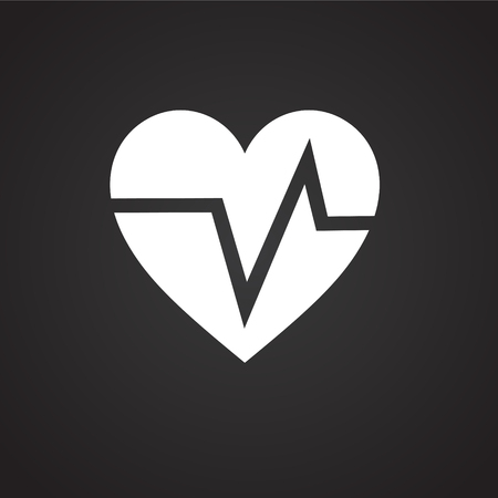 Heart rate pulse on black background icon Imagens