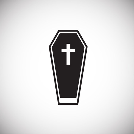 Patient death coffin on white background icon