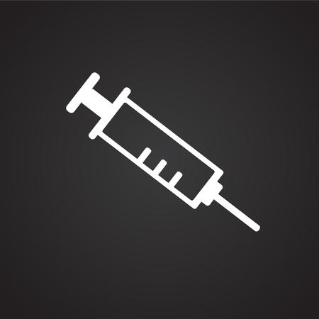 Medical syringe on black background icon Imagens