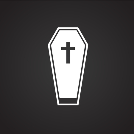 Patient death coffin on black background icon