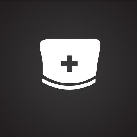 Medical hat on black background icon