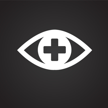 Ophtalmology eye icon on black background icon