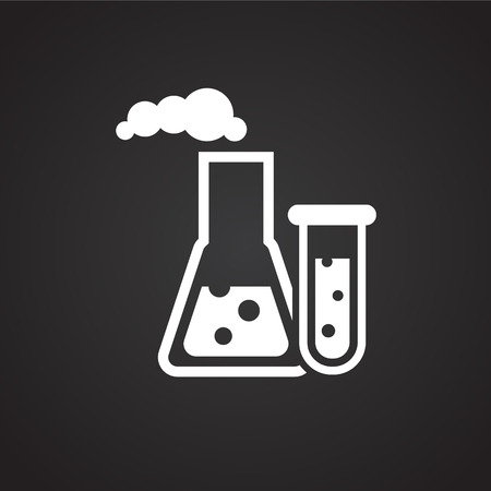 Oil research petrochemistry on black background icon