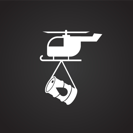 Oil transportation helicopter on black background icon