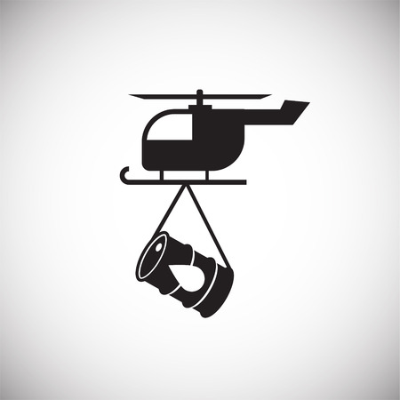 Oil transportation helicopter on white background icon Stock Photo