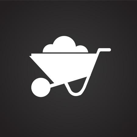 Cart on black background icon