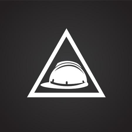 Helmet safety sign on black background icon Illustration