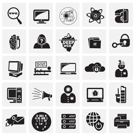 Computer and internet technologies set on squares background icons Stock fotó