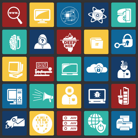 Computer and internet technologies set on color squares background icons