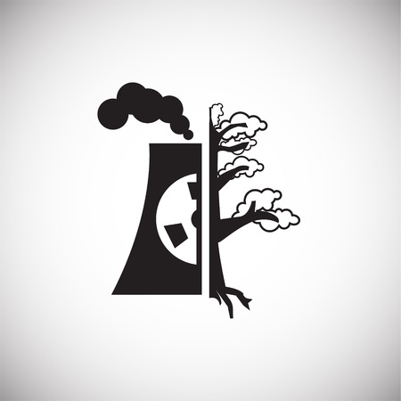 Nuclear power plant ecology icon on white background icon