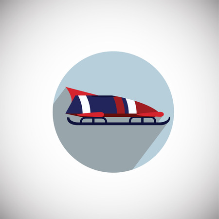 Bobsleigh on flat background icon
