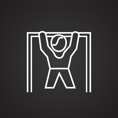 Pull ups thin line on black background icon