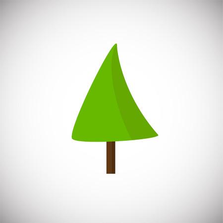 Green flat tree on white background icon