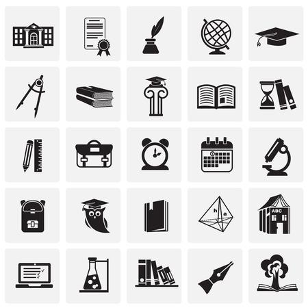 Education and stydying set on squares background icons
