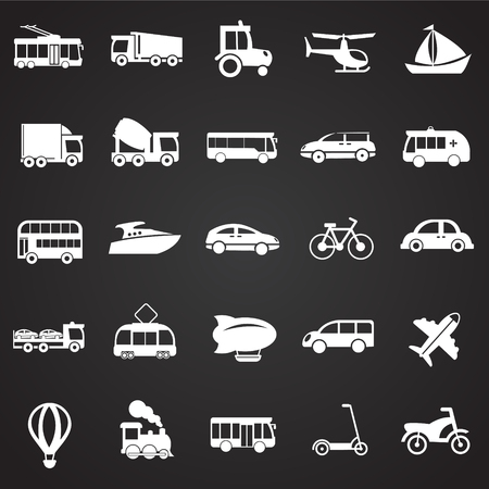 Transportation and vehicles set on black background icons