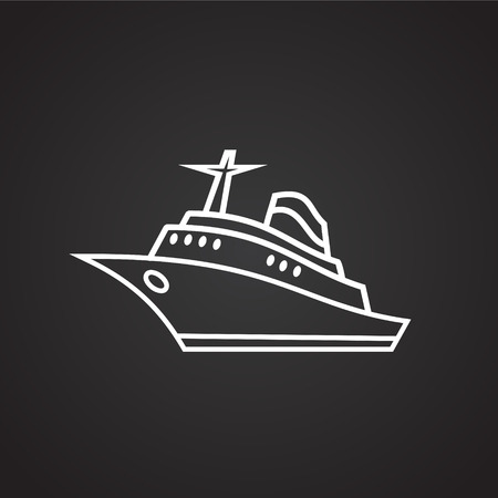 Sea liner thin line on black background icon