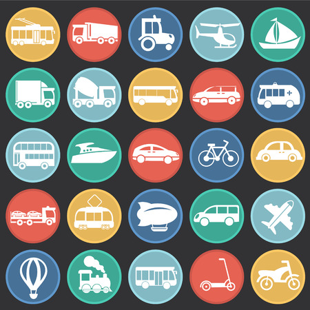 Transportation and vehicles set on circles black background icons Vettoriali