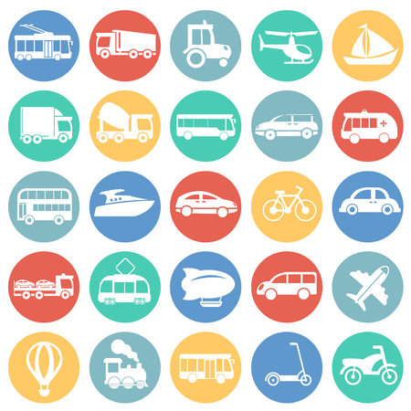 Transportation and vehicles set on circles background icons Stock Illustratie