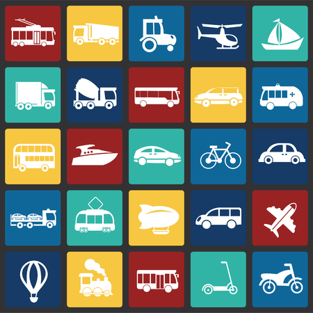 Transportation and vehicles set on color squares background icons Stock Illustratie