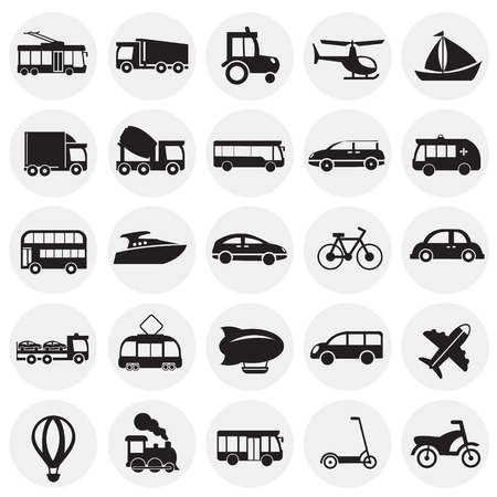 Transportation and vehicles set on circles background icons Vettoriali