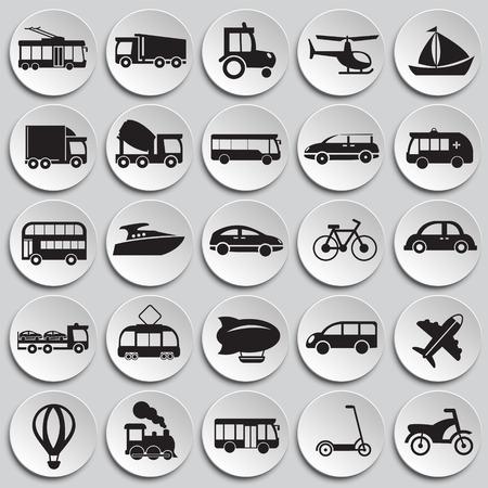 Transportation and vehicles set on plates background icons