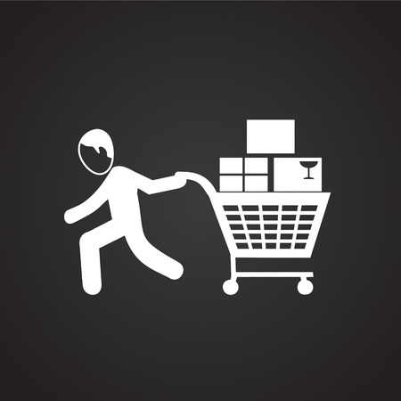 People shopping at sale on black background icon Illustration