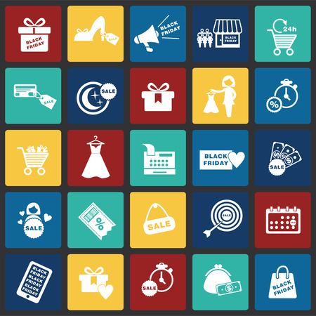 Black friday shopping set on color squares background icons Çizim