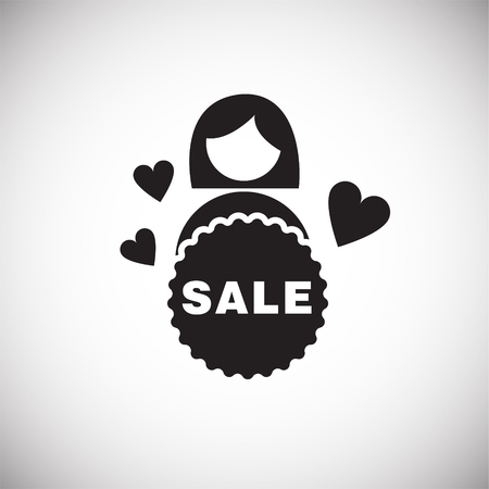 Woman shops on black friday on white background icon