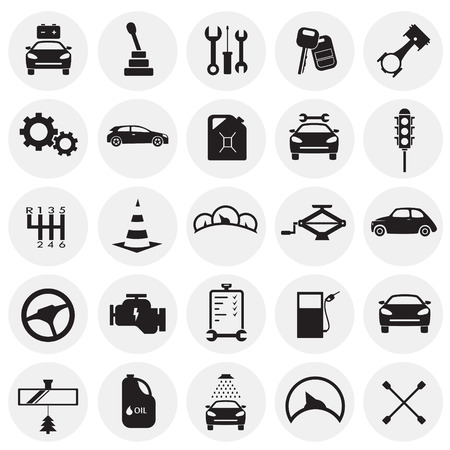 Car and service set on circles background icons