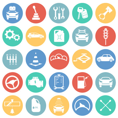 Car and service set on color circles background icons Фото со стока