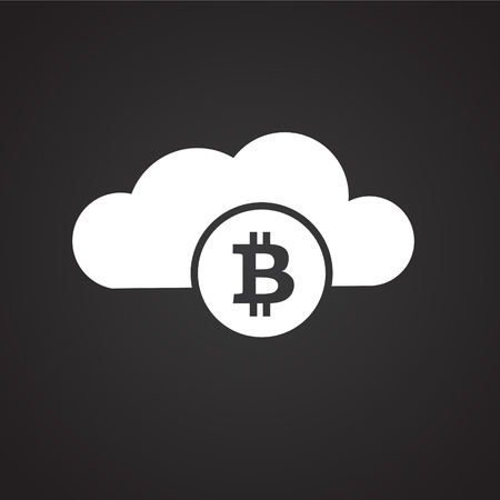 Bitcoin cloud on black background icon Vector Illustration