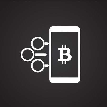 Bitcoin on mobile device on black background icon