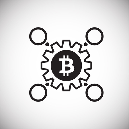 Crypto currency mining bitcoin on white background icon