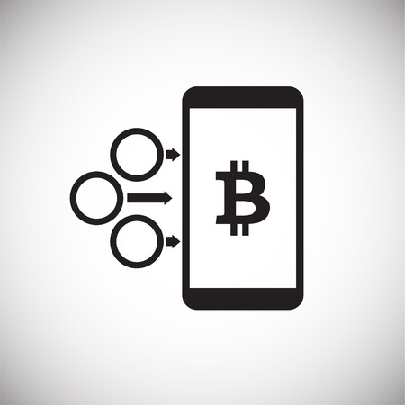 Bitcoin on mobile device on white background icon