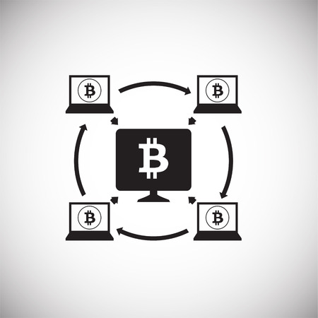 Crypto currency mining bitcoin on white background icon Vector Illustration