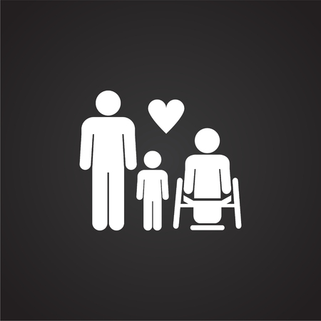 Family with disabled member on black background icon