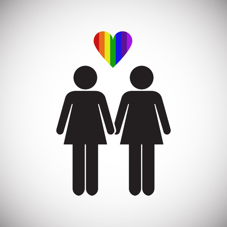 LGBT family female plus female on white background icon