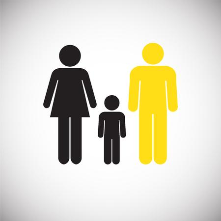 Interracial relationship family on white background icon Stock Illustratie