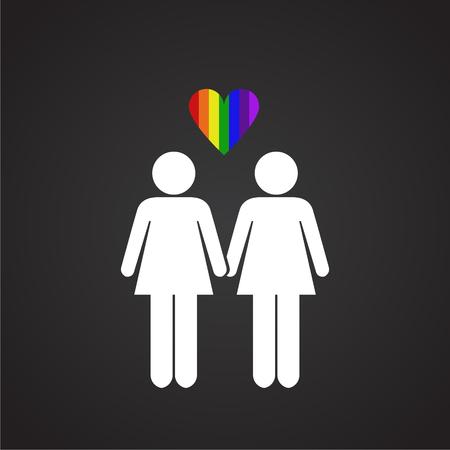 LGBT family female plus female on black background icon