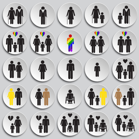 People gender race orientation age set on plate background icons