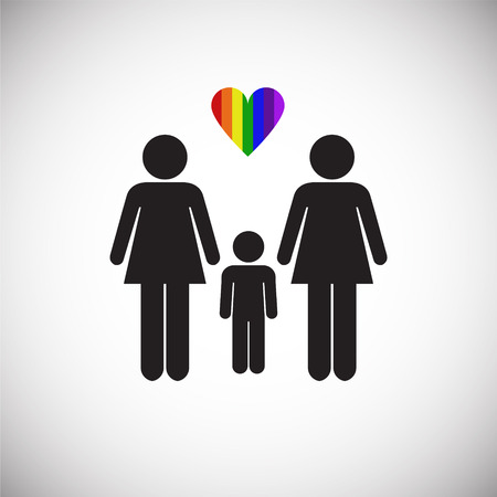 LGBT family female plus female on white background icon Stock Illustratie