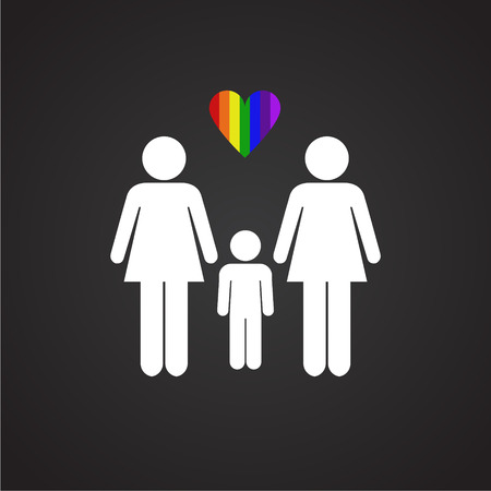 LGBT family female plus female on black background icon