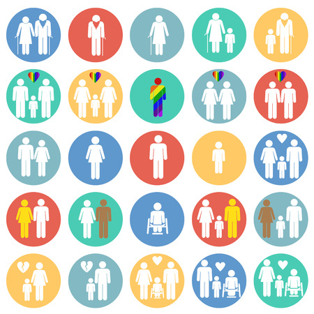 People gender race orientation age set on color circles background icons