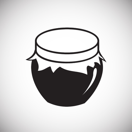 Cupping glass with jam on white background icon
