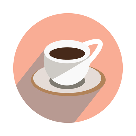 Cup with hot tea on white background icon flat
