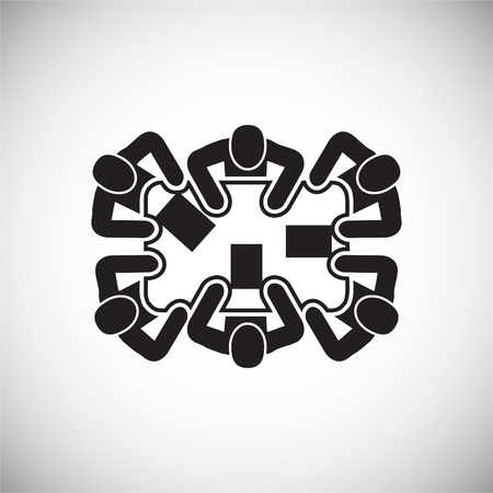 Collaboration meeting on white background icon